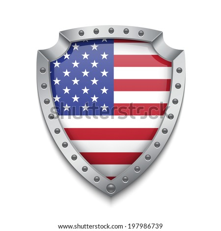 Shield with american flag. EPS10 vector - stock vector