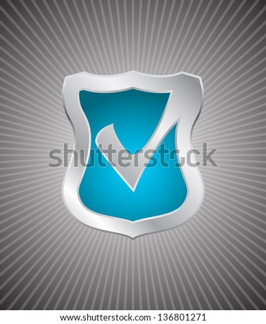 shield with check box - stock vector