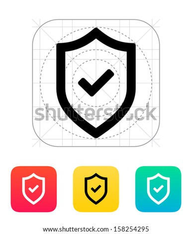 Shield with check mark icon. Vector illustration. - stock vector