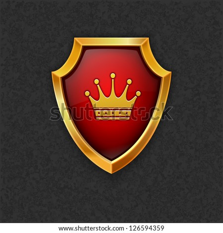 Shield with crown.Vector eps10 - stock vector