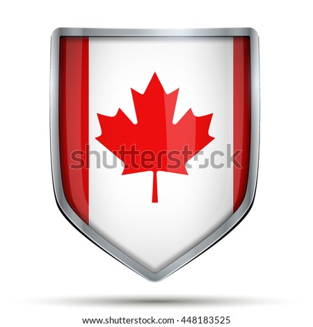 Shield with flag Canada. Editable Vector Illustration isolated on white background.