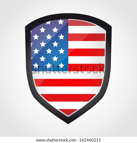 Shield with flag inside - United States - vector - stock vector