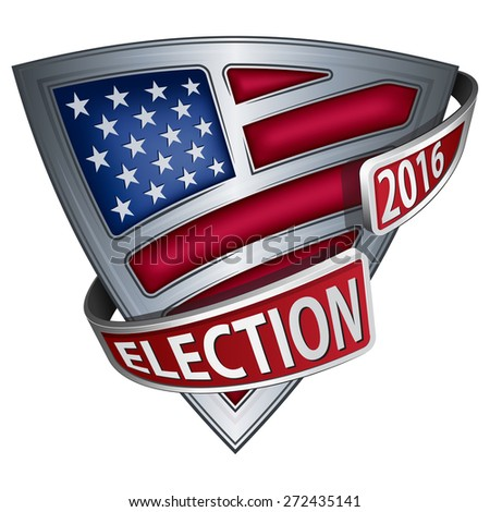 Shield with flag of the United States and inscription Election - stock vector