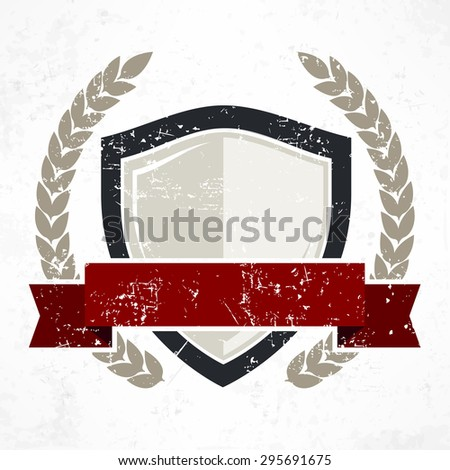 Shield with red ribbon and laurel in grange, flat vector illustration - stock vector