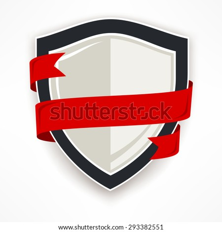 Shield with red ribbon on white, flat vector illustration - stock vector