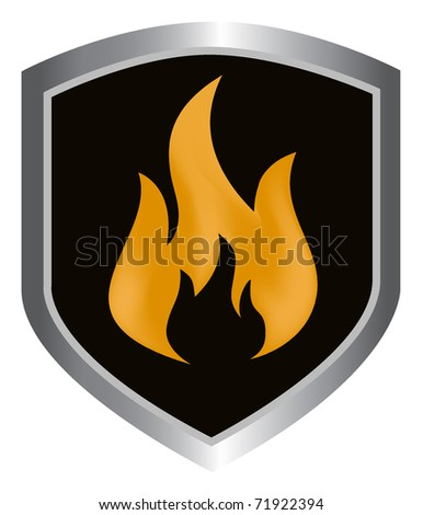 shield with sign of fire - stock vector