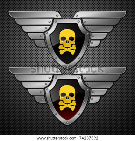 Shield with skull and wings on a metallic background. - stock vector