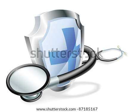 Shield with stethoscope wrapped round it medical healthcare concept - stock vector