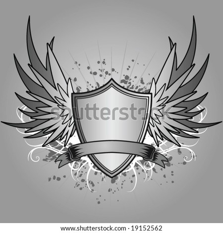Shield with wings - stock vector