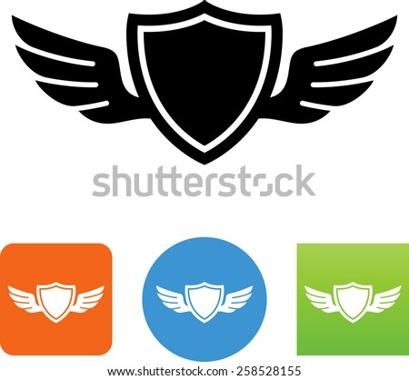 Shield with wings. Vector icons for video, mobile apps, Web sites and print projects.  - stock vector