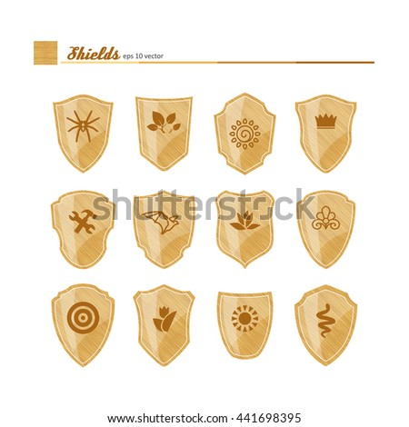 Shields - filling texture with neutral symbols. A vector.