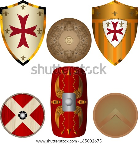 Shields from the Middle Ages - stock vector