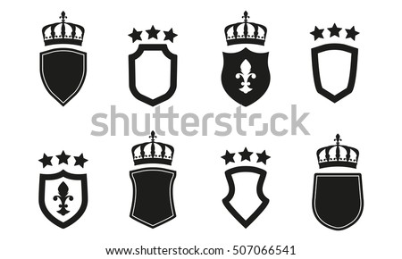 Shields Set Collection Of Different Shield Shapes With Crown And Stars Heraldic Royal Design