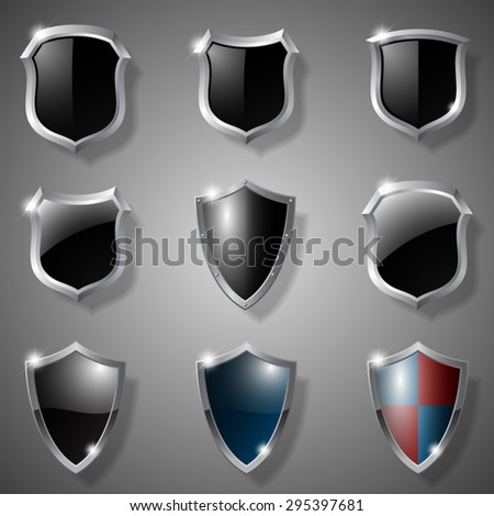 Shields set realistic vector isolated - stock vector