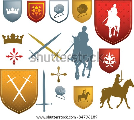 shields, swords, horses and other styles of tudor or elizabethan style old designs - stock vector