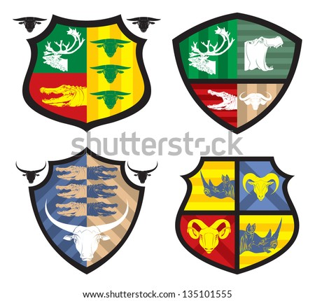 Shields with animal heads, 2, vector - stock vector