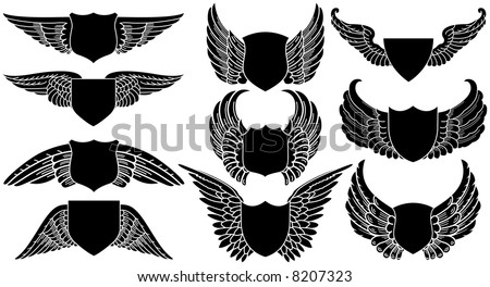Shields with Wings, create your own logo - stock vector