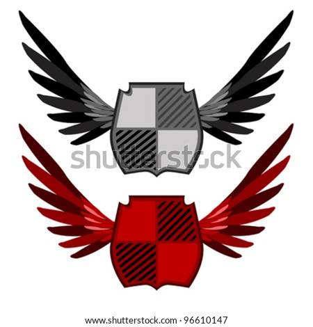 Shields with wings in different colours - stock vector