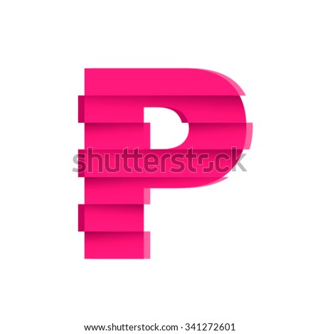 Shifted font, letter P - stock vector