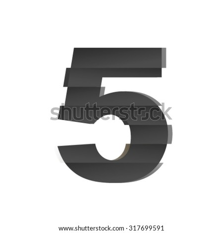 Shifted font, number 5 - stock vector