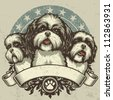 Shih Tzu Crest Design. Vector illustration of three purebred Shih Tzu dogs (front and profile view) sitting proudly over a grunge banner and floral design elements. - stock photo