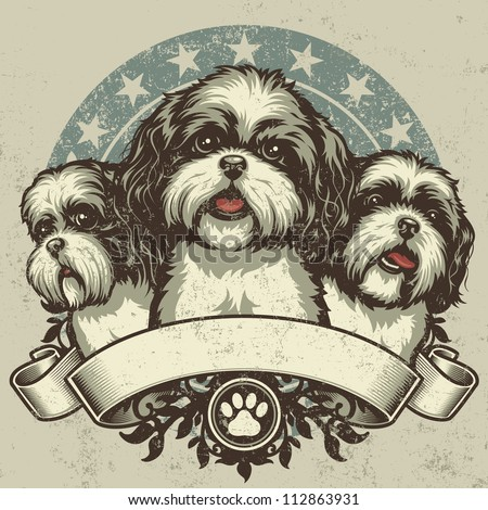 Shih Tzu Crest Design. Vector illustration of three purebred Shih Tzu dogs (front and profile view) sitting proudly over a grunge banner and floral design elements. - stock vector