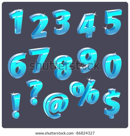 shine blue set of numbers - stock vector
