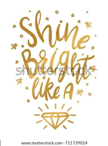 Shine Bright Like Diamond Wall Art Stock Vector 711739024 - Shutterstock
