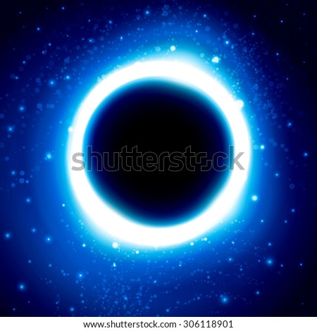 Shine cosmic vector wallpaper design with blue glowing circle and glitters on starry space background with black hole in center