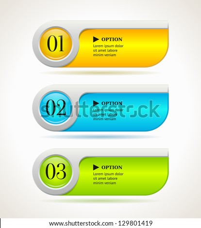 Shine horizontal colorful options banners/buttons template. Vector illustration - stock vector