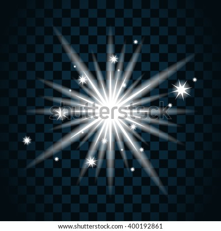 Shine star with glitter and sparkle icon. Effect twinkle, glare, glowing, graphic light sign. Transparent glow design element on dark background. Template bright flash decoration. Vector illustration.