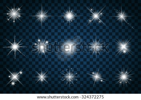 Shine stars with glitters and sparkles. Effect twinkle, design glare, scintillation element sign, graphic light, vector illustration - stock vector