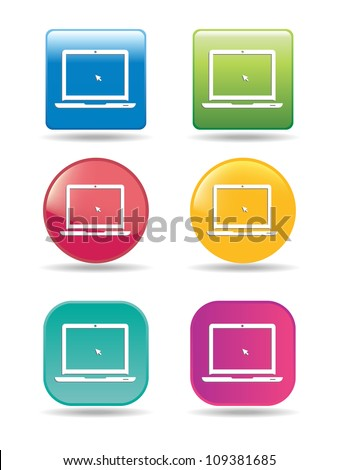 Shined Series Laptop Computer - stock vector