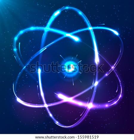 Shining atom vector scheme - stock vector