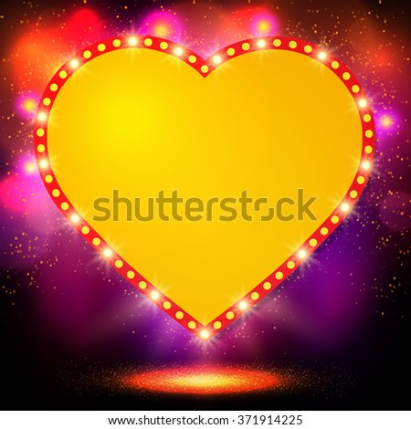 Shining background with retro heart banner. Vector illustration - stock vector
