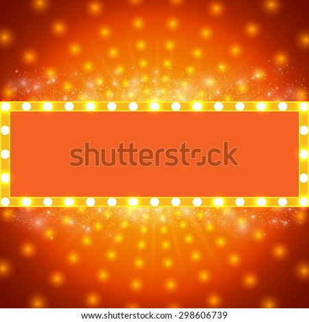Shining background with retro light banner. Vector illustration - stock vector