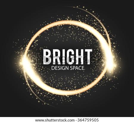 Shining Banner with Glittering Star Dust & Bokeh. Gold Elegant Design. Vector illustration - stock vector