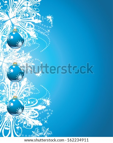 Shining blue Christmas balls on the background with snowflakes. Vector