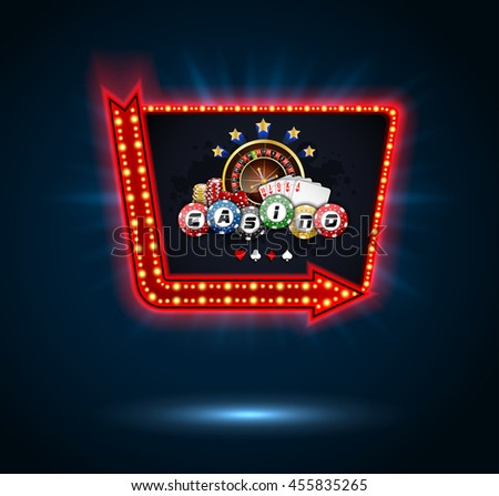 Shining Casino Party Banner with playing cards, roulette wheel and chips.Vector
