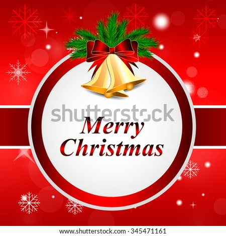 shining Christmas background with bells and snowflakes  - stock vector