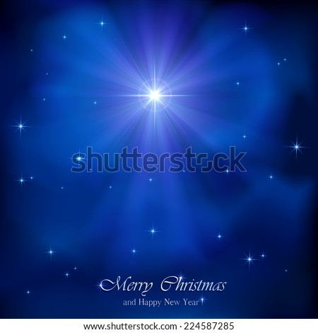 Shining Christmas star in the blue night sky, illustration. - stock vector