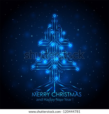 Shining Christmas tree from a digital electronic circuit, illustration. - stock vector