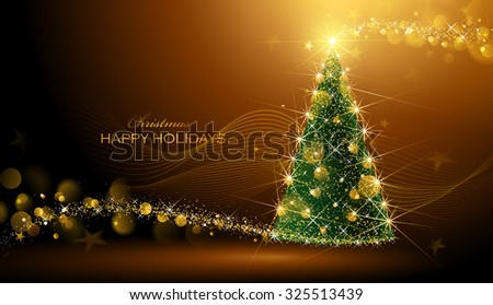 Shining Christmas tree on dark background with bokeh effect.  Vector Illustration - stock vector