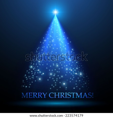 Shining Christmas tree. Vector illustration - stock vector