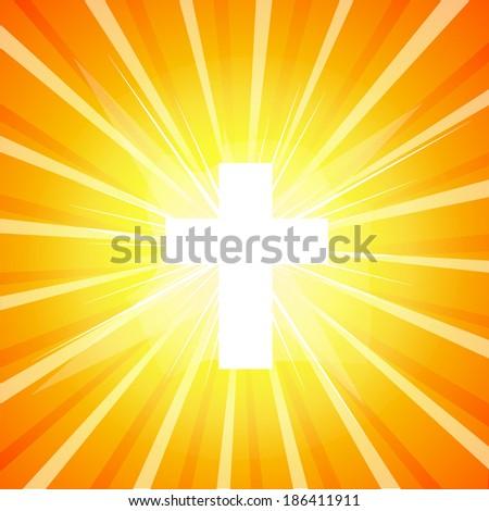 shining cross.  Vector - stock vector