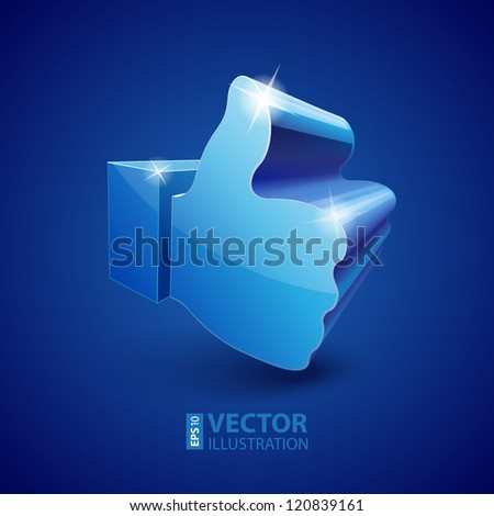 "Shining 3d ""Like"" symbol on blue background vector illustration - stock vector"