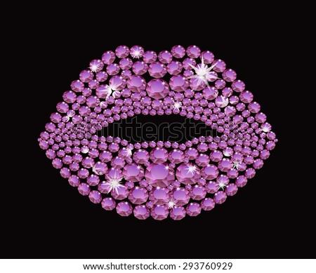 Shining diamond luxury lips, jewel, crystal, fashion, glamor - stock vector