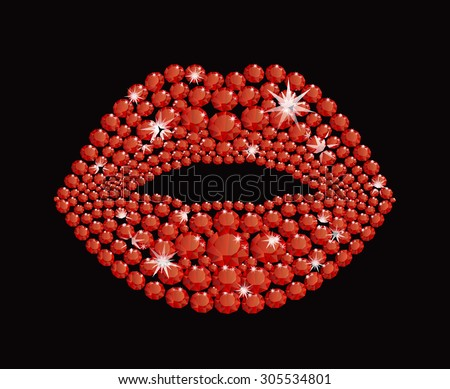 Shining diamond luxury red lips, jewel, crystal, fashion, glamor - stock vector