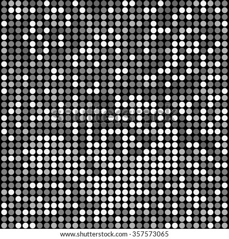 Shining disco mosaic background with black, gray, white colors. Round pixels are easily editable. - stock vector
