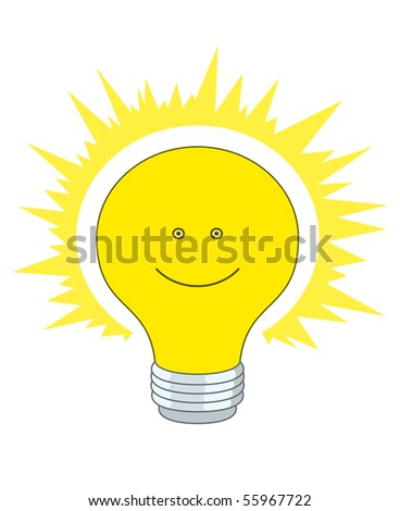 Shining electric bulb with a smile, eyes and bright aura - stock vector